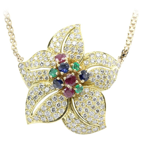Retro Gold Diamond Emerald Ruby Sapphire Chunky Flower Necklace
