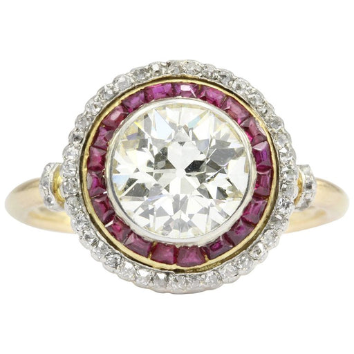 Edwardian 18K Gold Platinum Top Ruby & Old European Cut Diamond Ring - Queen May
