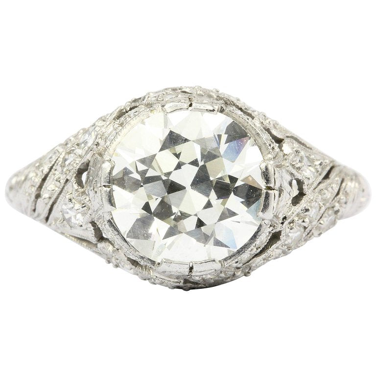 ring stone shoulders platinum rings diamond princess engagement single cut