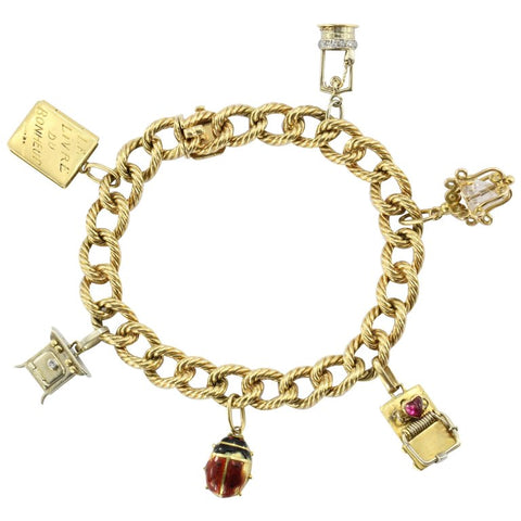 Cartier 18K Gold French Retro Loaded Charm Bracelet c.1950's