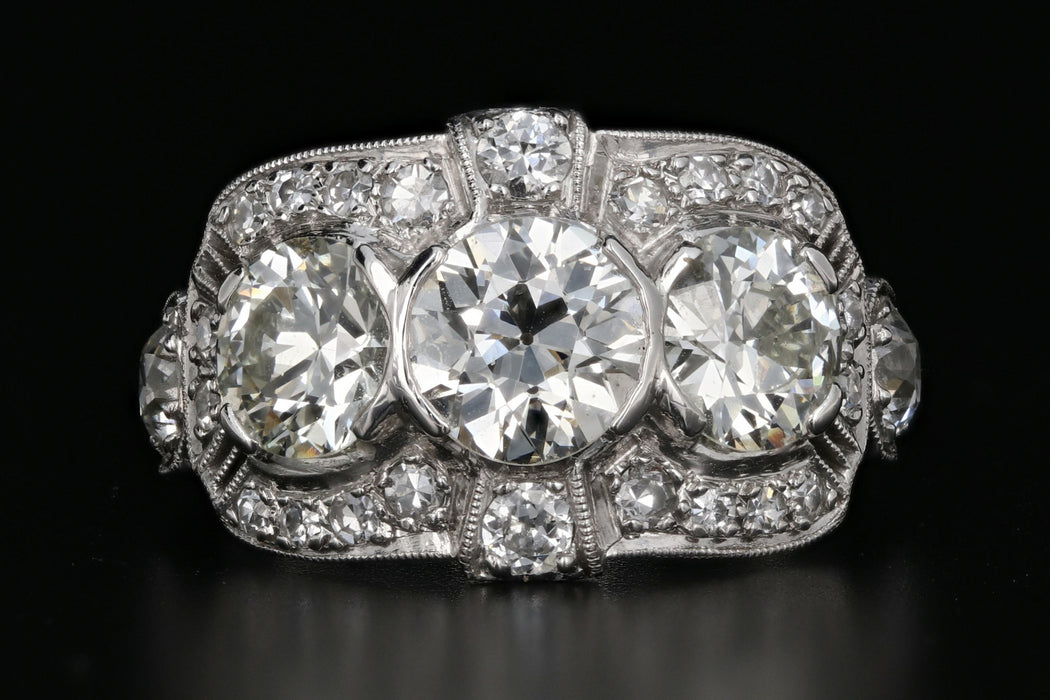 Art Deco Platinum Old European Cut 3 Stone Diamond Engagement Ring c.1920's - Queen May