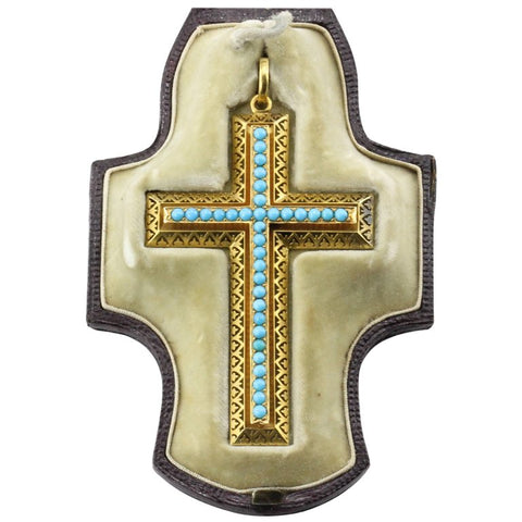 Victorian 15K Gold Persian Turquoise Pierced Cross Pendant c.1880 in Box