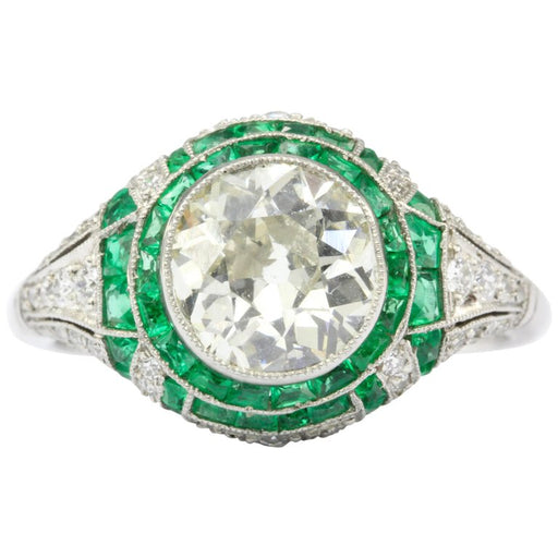Art Deco Revival Platinum 1.66 CT Diamond and Emerald Ring size 5.5