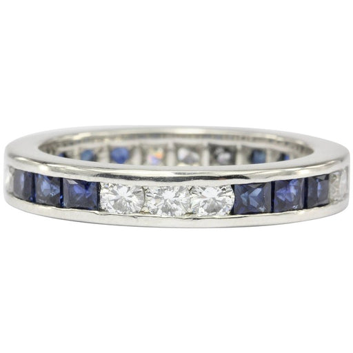 Platinum Diamond & Sapphire Eternity Band Ring Size 6.25