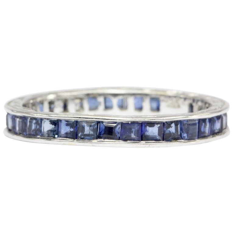 Art Deco 14k White Gold Sapphire Eternity Band Size 4.75