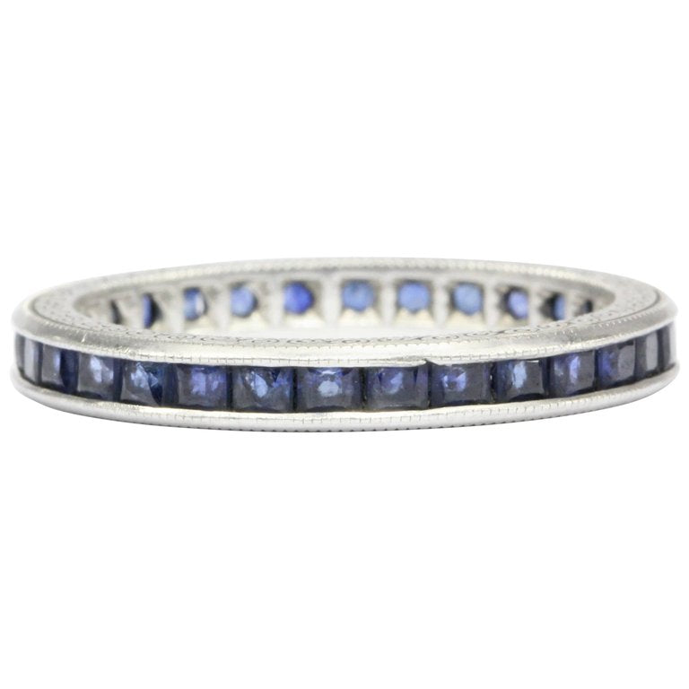 Rare Art Deco Platinum 1 CTW Natural Sapphire Band Engraved Size 6.5 - Queen May