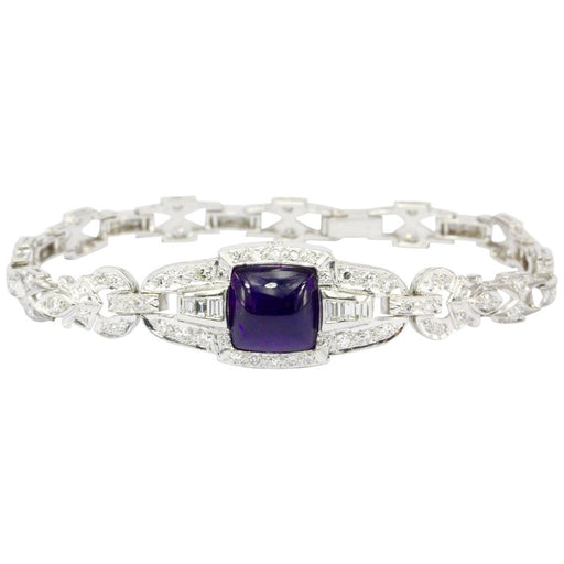 Art Deco Platinum Diamond Watch Conversion with Amethyst Cabochon