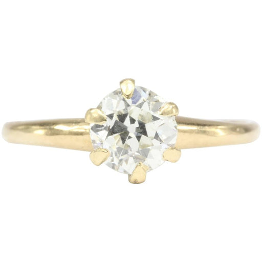 Victorian 14K Yellow Gold .92 Carat Diamond Solitaire Engagement Ring Size 5.75
