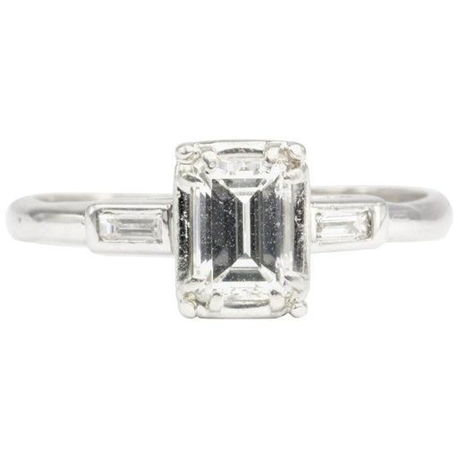 Art Deco 14K White Gold .52 Carat Emerald Cut Engagement Ring Size 5.25