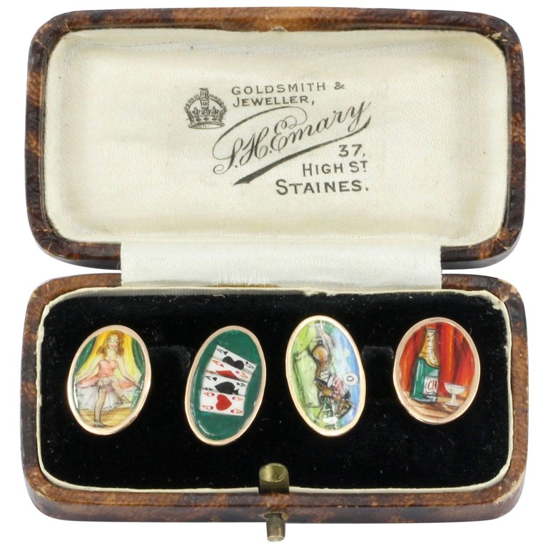 Edwardian English 9ct Gold Enamel 4 Vices Cufflinks c.1912 - Queen May