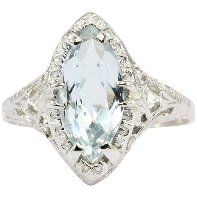 Art Deco 14K White Gold Aquamarine Ring Size 7.5 - Queen May