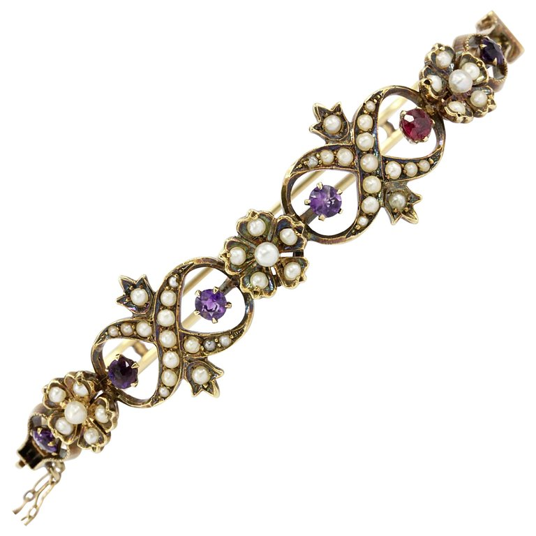 victorian and bangles yellow bracelet quatrefoil ct ruby diamond motif bangle gold products img