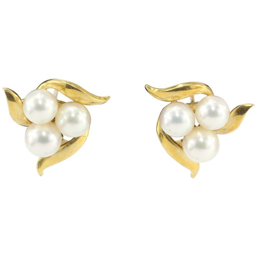 Mikimoto 18K Yellow Gold 6-6.5mm Pink Luster A+ Pearl Earrings - Queen May
