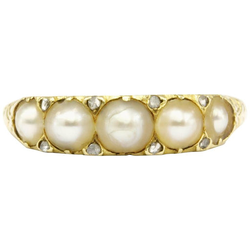 Victorian 18K Yellow Gold Rose Cut Diamond and Natural Pearl Band Ring Size 6.75