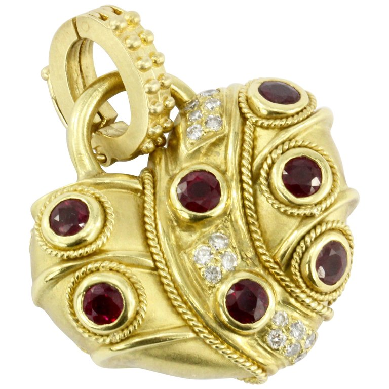 18K Brushed Yellow Gold Natural Sapphire Natural Ruby and Diamond Heart Shaped Enhancer Pendant