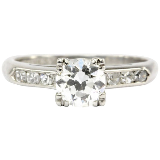 Art Deco Platinum .75 CT Old European Cut Diamond Engagement Ring Size 4.75