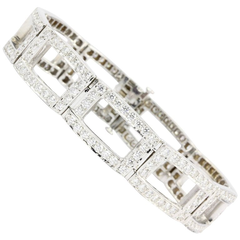18K White Gold Diamond Rectangular Link Tennis Bracelet 8 CTW