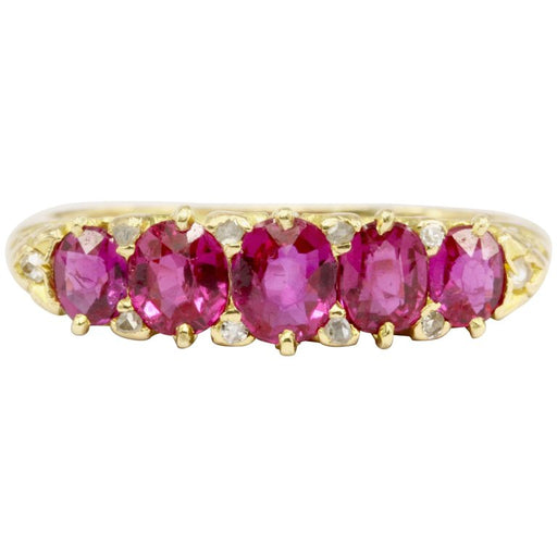 Victorian 18K Yellow Gold Natural No Heat Burma Pink Sapphire Five Stone Half Band Ring Size 7