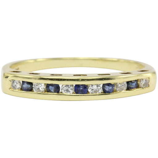 Cartier 18K Yellow Gold Diamond & Sapphire Channel Set Half Band Ring Size 5.5