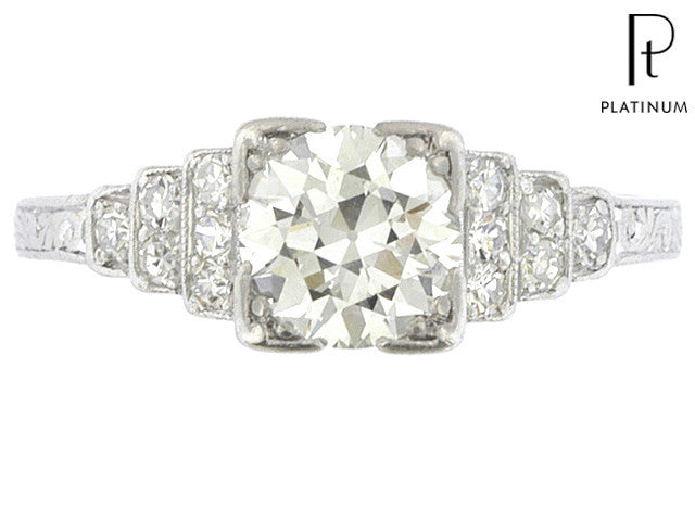 An Art Deco Platinum Old European Cut 1.15 carat total weight Diamond Engagement Ring - Queen May