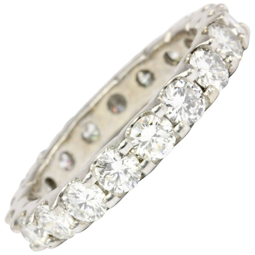 14K White Gold 2.5 CTW Diamond Eternity Band Size 7.5