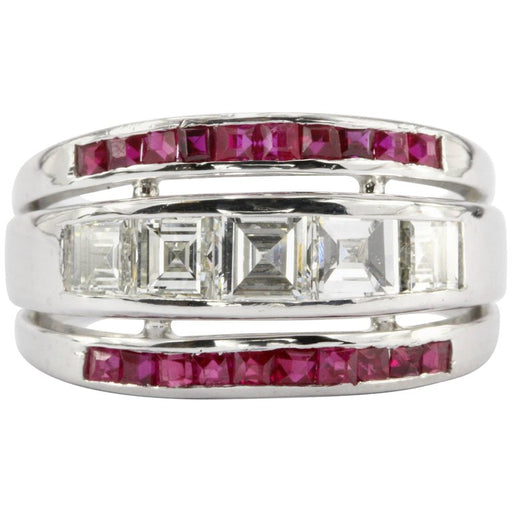 Art Deco Platinum Carre Cut Diamonds & Ruby Triple Row Band Ring c.1930's