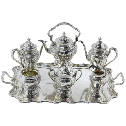 Black Starr and Frost Seven-Piece Tea Set with Herbert Lambert Tray - Queen May