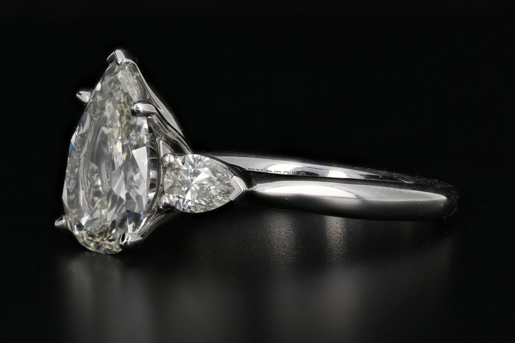 Platinum 3CT antique pear diamond 3.64CTW IGI Certified - Queen May