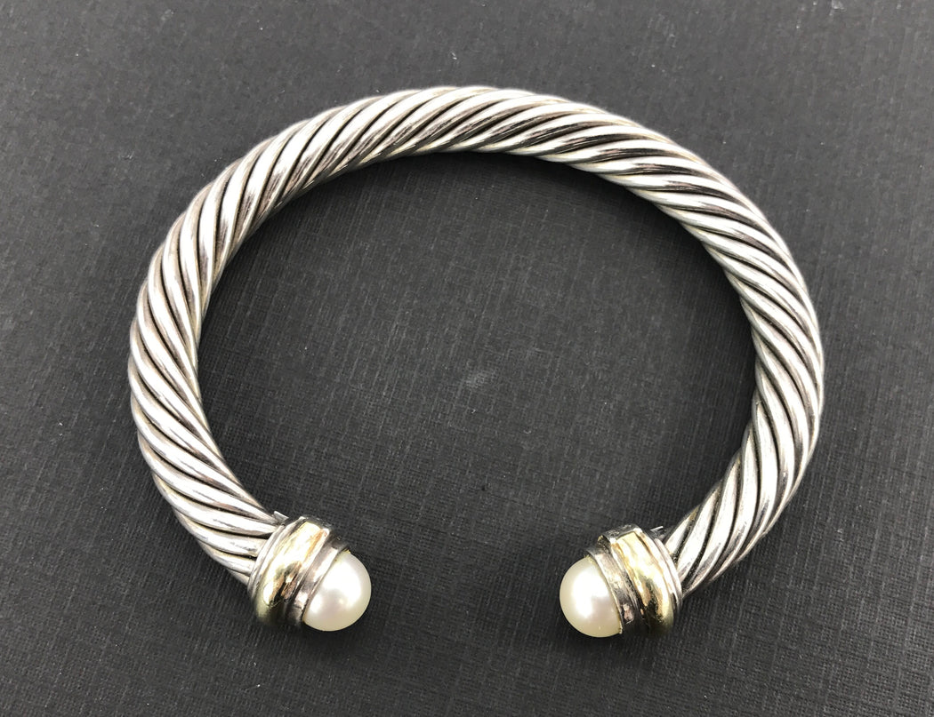 David Yurman Sterling Silver 14K Gold Pearl Classic 7mm Cable Cuff Bracelet - Queen May