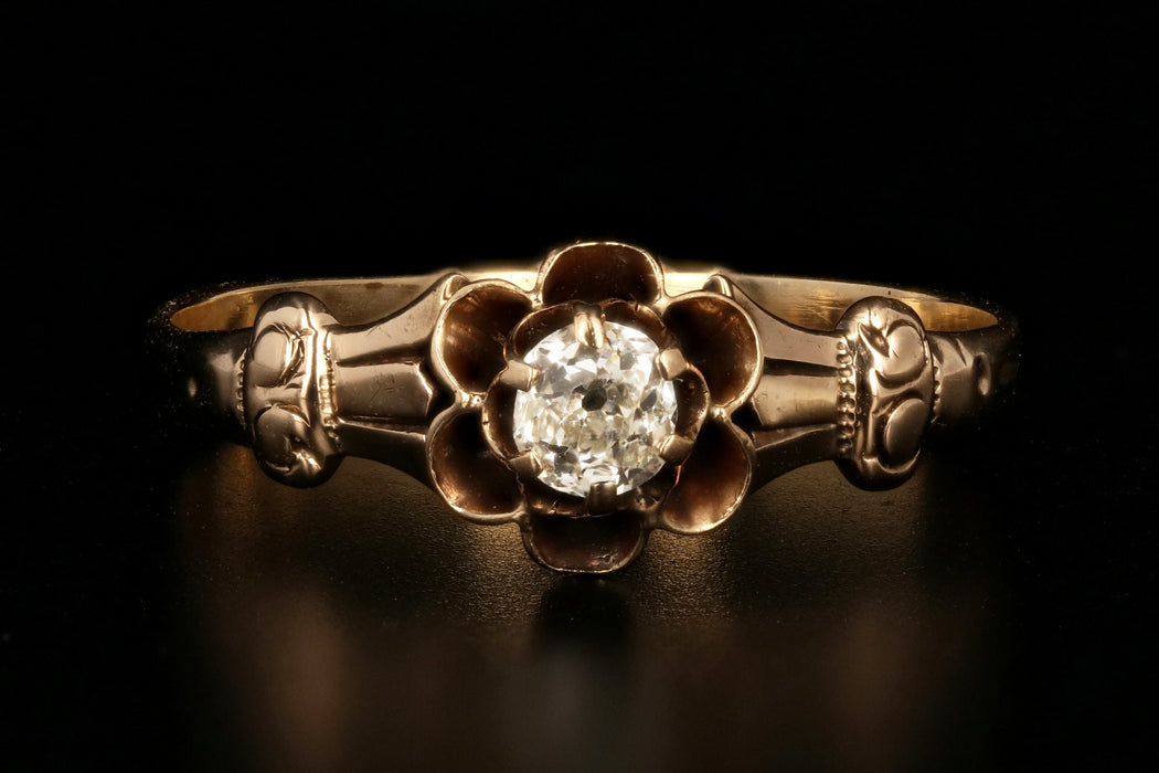 Victorian 14K Rose Gold .20 Carat Old European Cut Diamond Buttercup Ring - Queen May