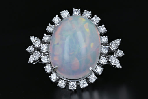 18K White Gold 13.57 CT Crystal Opal with 1.12 CTW Diamond Ring - Queen May