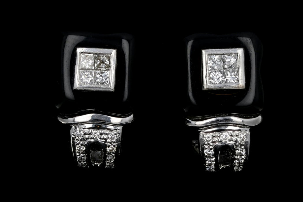 18K White Gold .50 CTW Diamond & Onyx Earrings - Queen May