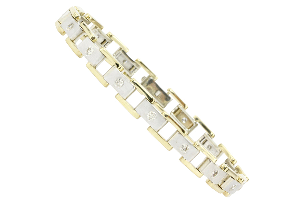 Men's 14K White & Yellow Gold Station Diamond Bracelet