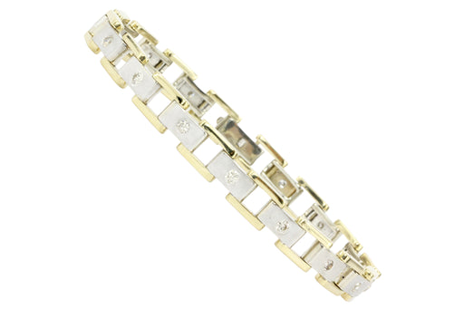 Men's 14K White & Yellow Gold Station Diamond Bracelet - Queen May