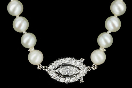Modern 14K White Gold 6.8-9.70mm Cultured Japanese Akoya Pearl and Diamond Necklace - Queen May