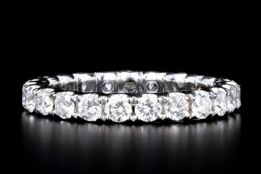 New 14K White Gold 1.49 Carat Round Brilliant Cut Diamond Eternity Band - Queen May