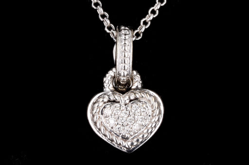 Modern 18K White Gold .05 Carats in Total Round Brilliant Cut Diamond Heart Pendant Necklace - Queen May