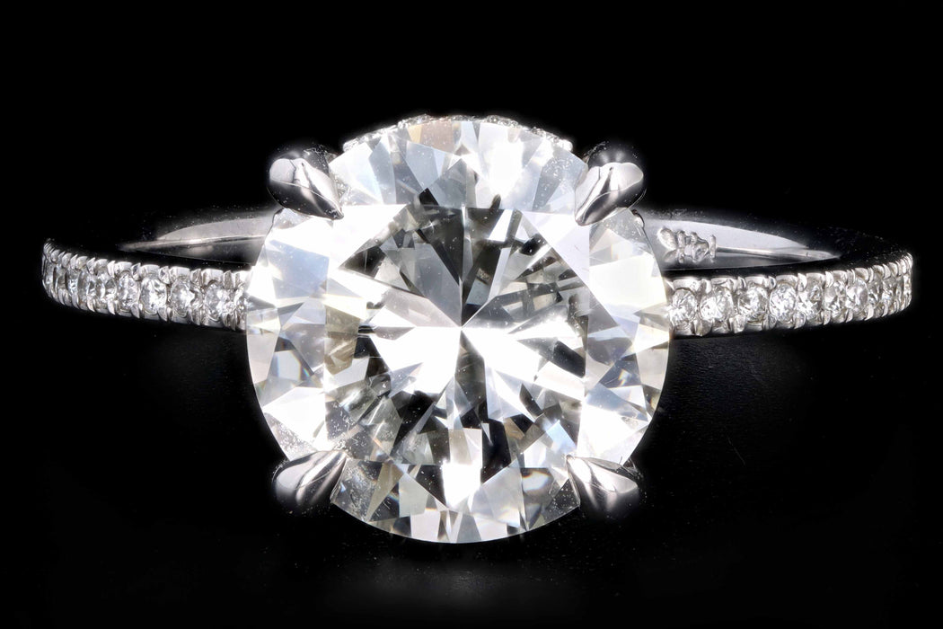 New 14K White Gold 3.35 Carat Round Brilliant Cut Diamond Engagement Ring GIA Certified - Queen May