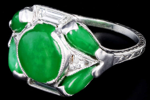 Marsh & Co. Art Deco Platinum Jadeite And Diamond Ring - Queen May