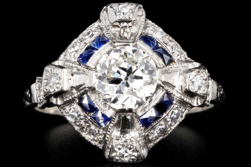 Art Deco Platinum .76 CTR Old European Cut Diamond and Sapphire Engagement Ring - Queen May
