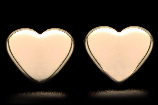 New 14K Yellow Gold Heart Stud Earrings - Queen May