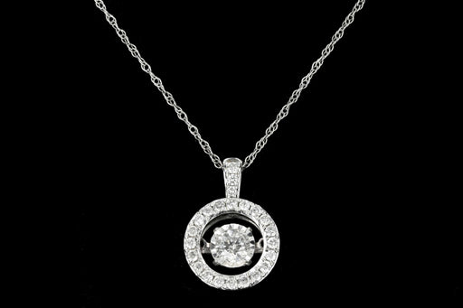 Modern 14K White Gold .30 CTR Round Brilliant Cut Diamond Halo Pendant Necklace - Queen May