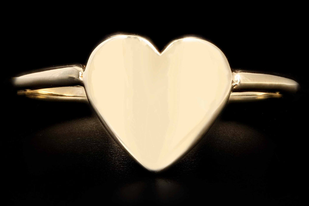 New 14K Gold Heart Signet Ring - Queen May