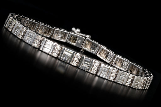 Modern 14K White Gold 6CTW Round Brilliant and Baguette Cut Tennis Bracelet - Queen May