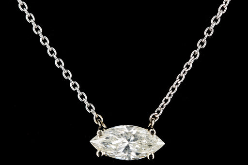 New 14K White Gold 1.04 Carat Marquise Cut Diamond Pendant Necklace - Queen May