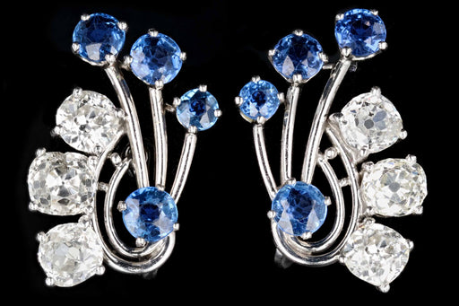 Art Deco Platinum 3.3CTW Old Mine Cut Diamond and 1.7CTW Natural Yogo Gulch Sapphire Earrings - Queen May