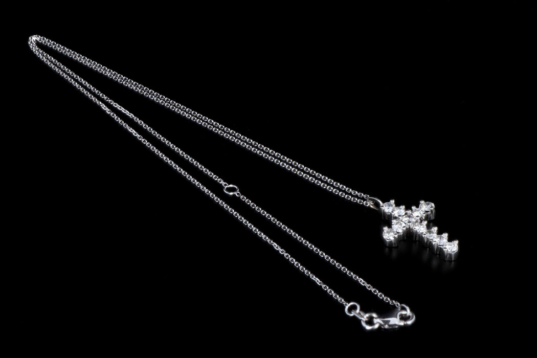 Modern 14K White Gold 1 Carat in Total Round Brilliant Cut Diamond Cross Pendant Necklace - Queen May