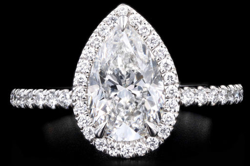 New Platinum 2.03 Carat Pear Cut Diamond Halo Engagement Ring GIA Certfied - Queen May