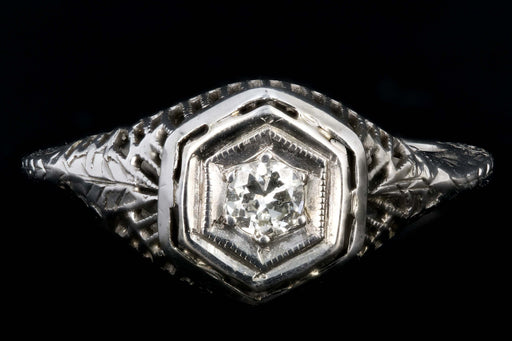 Art Deco 18K White Gold Hexagon Shape Transition Cut .15 Carat Diamond Ring - Queen May