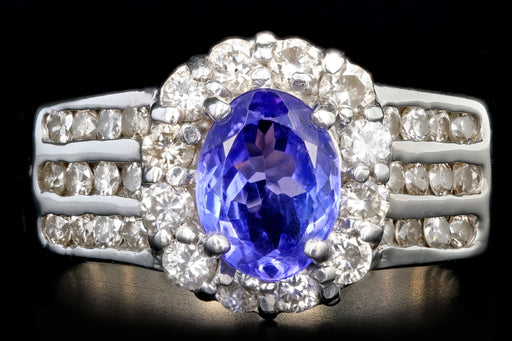 Modern 18K White Gold 1.2CT Tanzanite and Diamond Ring - Queen May